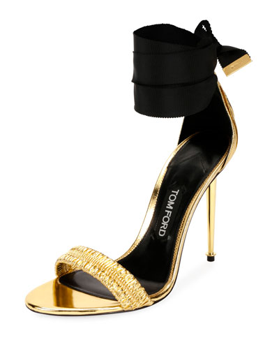 Metallic Ankle-Tie 105mm Sandal