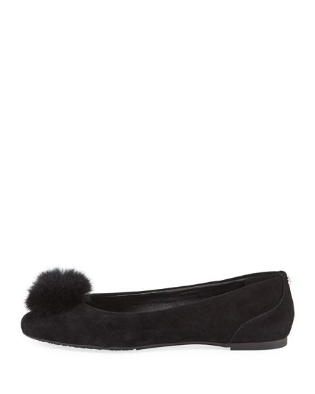 Remi Fur-Pouf Suede Ballerina Flat
