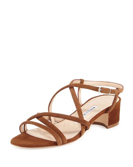Manolo Blahnik Atrita Strappy Suede Sandal, Medium Brown