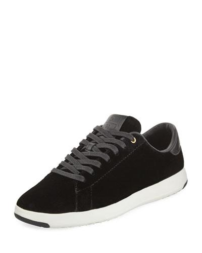 Grand Pro Velvet Tennis Shoe, Black