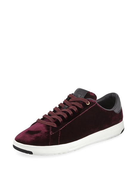 Grand Pro Velvet Tennis Shoe, Wine