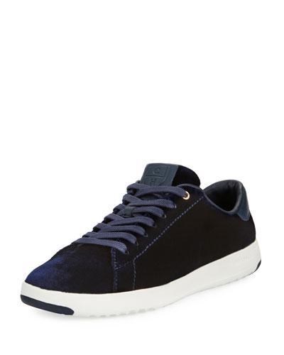 Grand Pro Velvet Tennis Shoe, Marine Blue