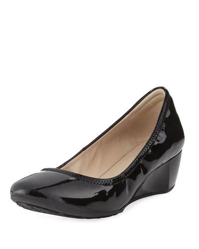 Sadie Grand Patent Wedge Pump, Black