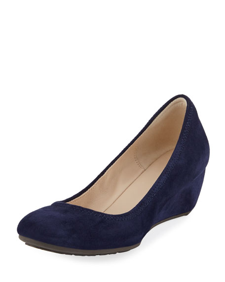 Sadie Grand Suede Wedge Pump, Marine Blue