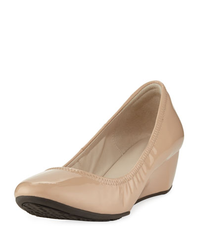 Sadie Grand Patent Wedge Pump, Nude