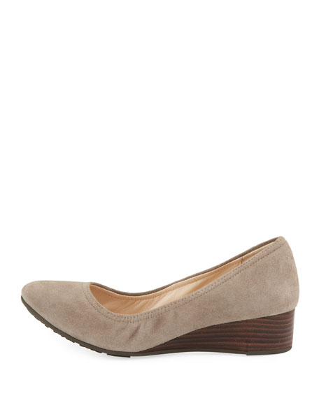 Sadie Grand Suede Wedge Pump, Light Gray