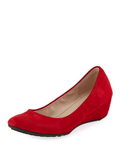 Sadie Grand Suede Wedge Pump, Bright Red