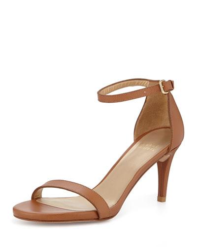 Nunaked Mid-Heel Ankle-Strap Sandal, Miel