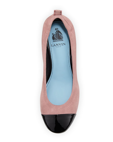 Nubuck Cube-Heel Cap-Toe Pump, Medium Pink/Black