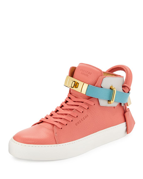 Buscemi Women's 100mm Turn-Lock Tricolor High-Top Sneaker