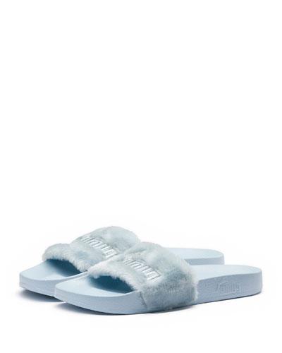Faux-Fur Pool Slide Sandal, Light Blue