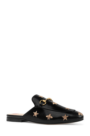 Gucci Flat Princetown Bee & Star Mule