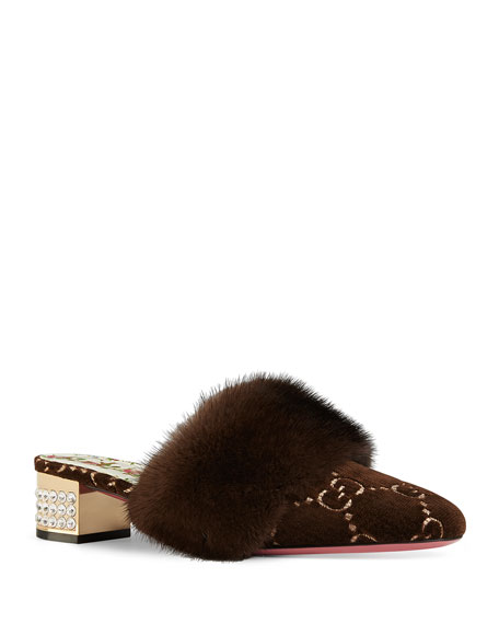 Gucci Candy GG Velvet Fur-Trim Mule