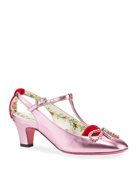 Gucci Anita Metallic Leather Bow Pump