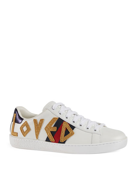 Gucci Ace Loved Leather Trainer Sneaker