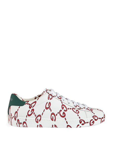 GG Printed Leather Low-Top Sneakers