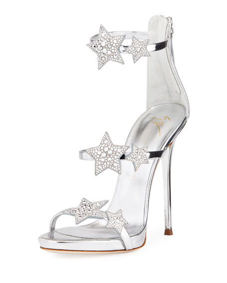 Women'S Strappy Leather & Crystal Embellished Star High-Heel Sandals, Silver