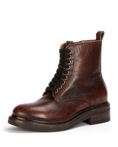 Alice Combat Zip Leather Boot