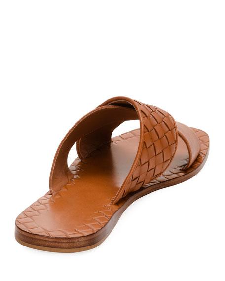 Flat Crisscross Woven Slide Sandals