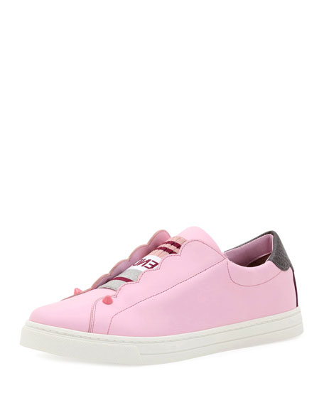 Fendi Knit Leather Slip-On Sneaker, Pink