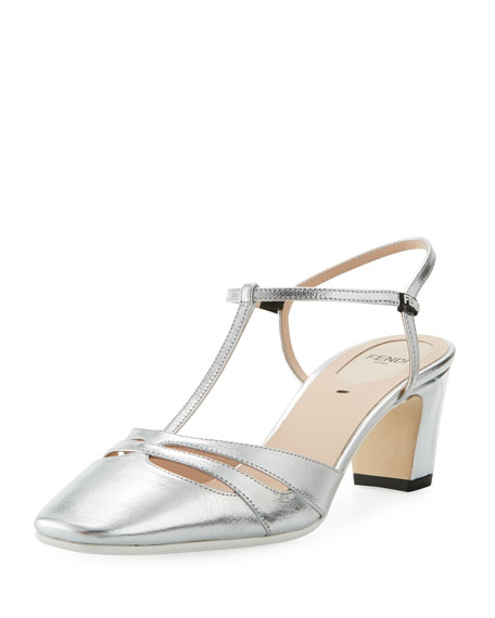 Fendi Metallic Leather 55mm Slingback Pump