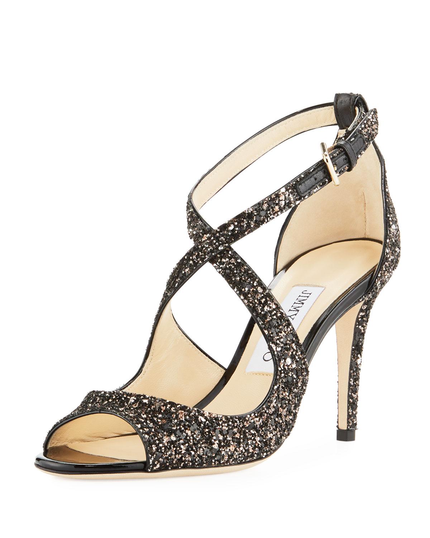 28d01ad1eae3 Jimmy Choo Emily Coarse Glitter Sandal