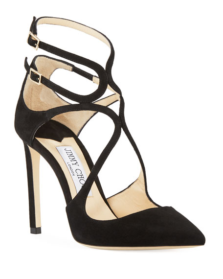 Jimmy Choo Lancer Suede Caged 100mm Pump