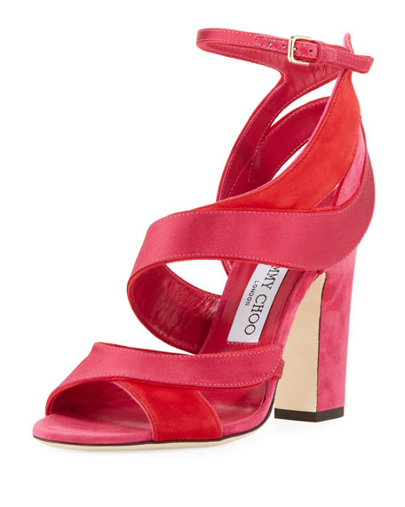 Jimmy Choo Falcon Mixed Satin/Suede Sandal