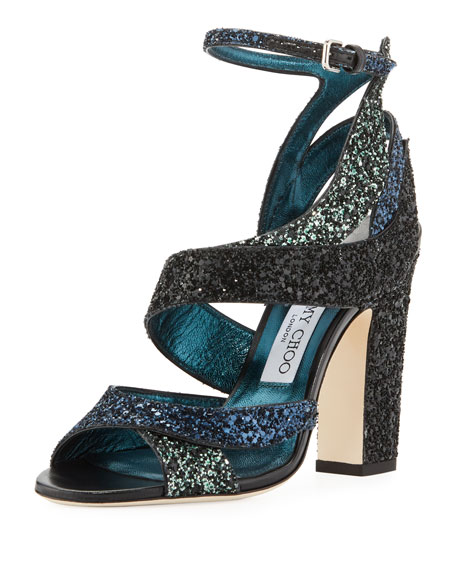 Jimmy Choo Falcon Glitter Mixed 100mm Sandal