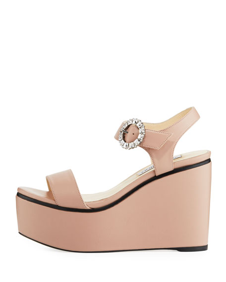 Nylah Leather Wedge Platform Sandal