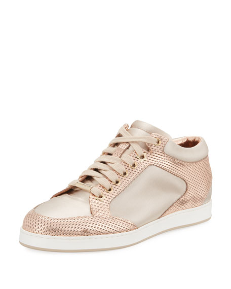 Jimmy Choo Miami Metallic Leather/Satin Sneakers