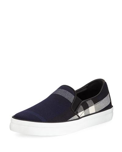 Gauden Check-Print Slip-On Sneaker, Indigo Blue