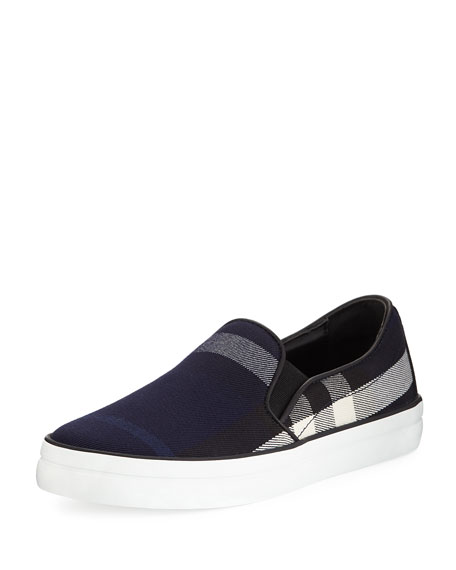 Burberry Gauden Check-Print Slip-On Sneaker, Indigo Blue