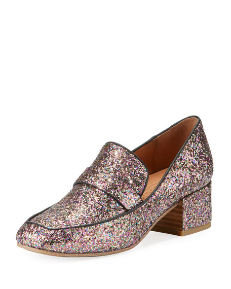 Gentle Souls Eliott Low-Heel Glitter Leather Loafer