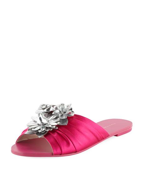 Sophia Webster Lilico Glitter Ruched Satin Slide Sandal