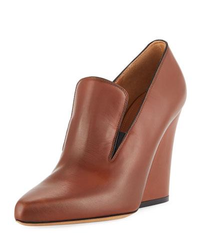 Flare High-Heel Leather Loafer Pump