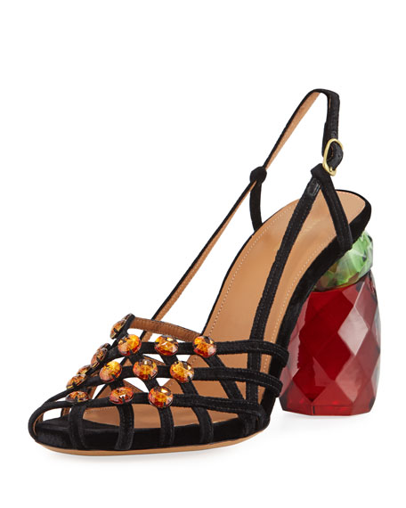 Dries Van Noten Strappy Studded Velvet Slingback Pump
