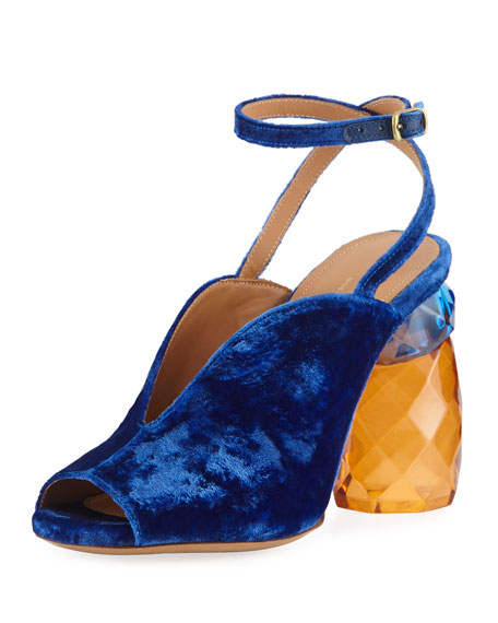 Dries Van Noten Velvet Resin-Heel Ankle-Wrap Pump