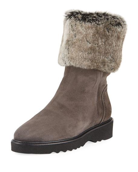 Aquatalia Kelly Suede Faux-Fur Hiking Boot