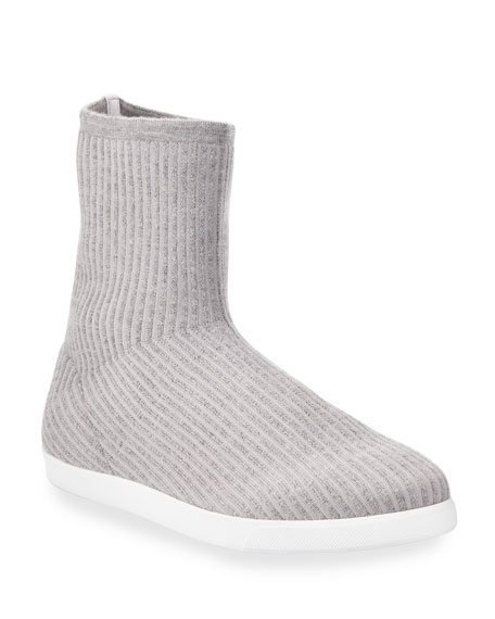 Dean Knit Cashmere Sock Booties, Gray