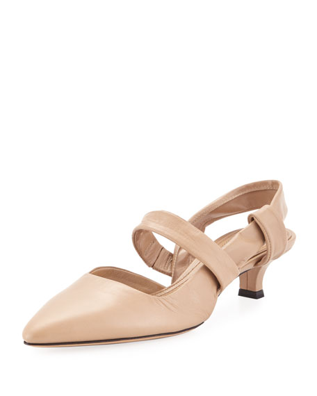 Coco Twist Leather Slingback Pump