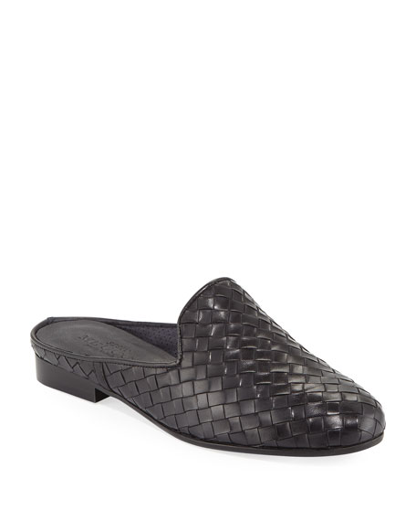 Nixie Woven Calf Slide Mule, Black