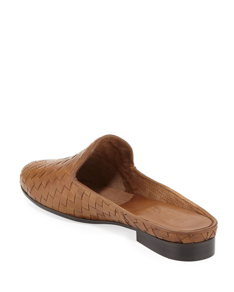 Nixie Woven Calf Slide Mule, Brown