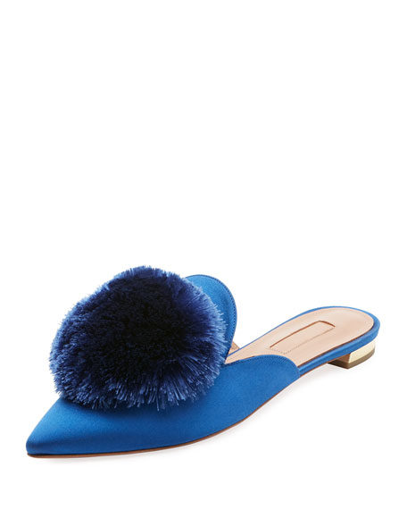 Aquazzura Powder Puff Satin Mule Flat