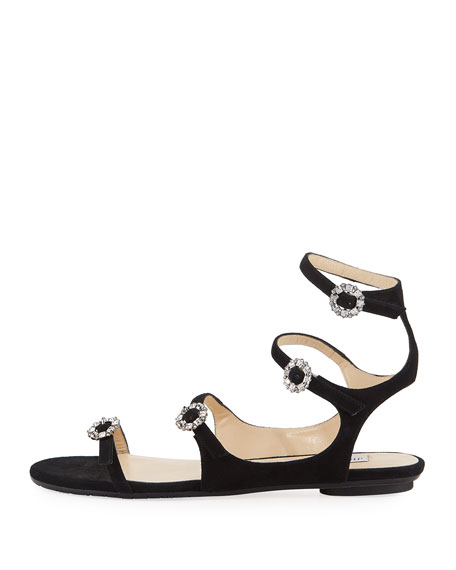 Naia Suede Flat Sandal with Crystal Buckles, Black