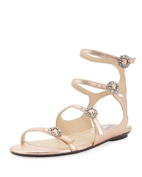 Jimmy Choo Naia Metallic Flat Sandal with Crystal