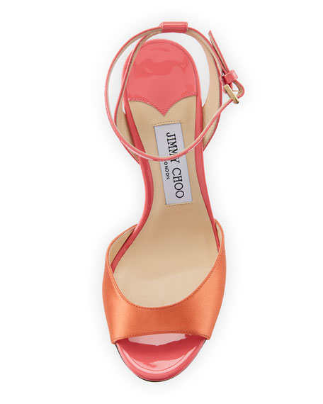 Miranda Two-Tone Satin and Patent Sandal