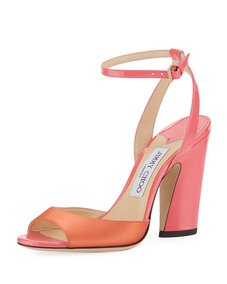 Jimmy Choo Miranda Two-Tone Satin and Patent Sandal