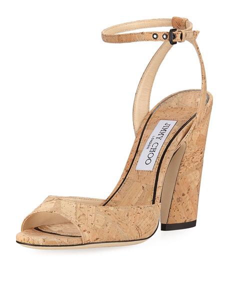 Jimmy Choo Miranda Cork Ankle-Wrap Sandal