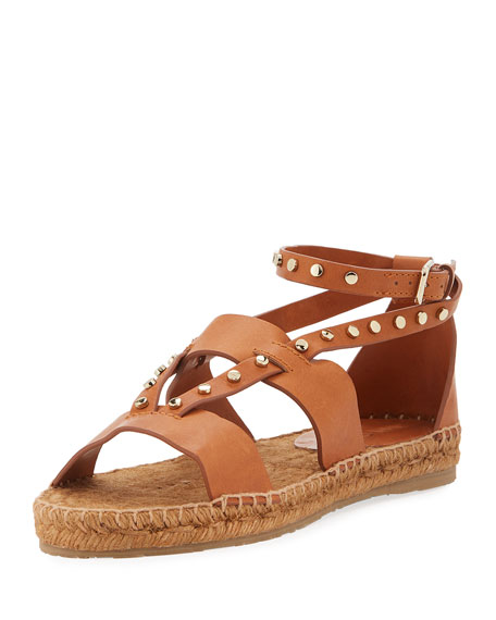 Jimmy Choo Denise Flat Studded Sandal, Tan